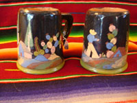 Mexican vintage pottery, Tlaquepaque blackware mugs, c. 1925.