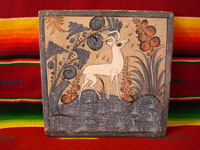 Mexican pottery tile of deer, Tlaquepaque c. 1935