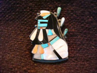 Native American Indian vintage silver jewelry, a Zuni broach with inlay, c. 1940. Main photo.