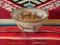 Native American Indian basket, a lovely pictorial basket with figures of dogs around the sides, Tohono 'odam (formerly known as Papago), c. 1920-30's. Main photo of the Indian basket.