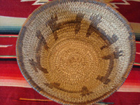 Native American Indian basket, a lovely pictorial basket with figures of dogs around the sides, Tohono 'odam (formerly known as Papago), c. 1920-30's. Photo showing the inside of the Indian basket.