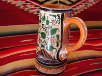 Mexican vintage pottery and ceramics. a lovely petatillo pitcher with a handle and very fine hand-painted decoration, Tlaquepaque, Jalisco, c. 1940's. Another photo of one side of the pitcher.