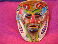 Mexican vintage pottery, and Mexican vintage folk-art, a pair of wonderful pottery masks from Amayaltepec, Guerrero, c. 1950's. Closeup photo of the second mask.