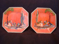 Mexican vintage pottery and ceramics, a pair of very beautiful hectagonal earthen-ware plates with very fine artwork, Tonala or Tlaquepaque, Jalisco, c. 1930's. Main photo.
