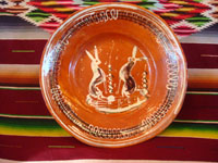 Mexican vintage pottery and ceramics, a beautiful bandera-ware plate or bowl, with wonderful artwork featuring two lovely bunnies, Tonala or Tlaquepaque, Jalisco, c. 1930's. Main photo of the bandera-ware plate or bowl.
