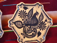 Mexican vintage pottery and ceramics, a set of three hexagonal plates, decorated with lovely birds (quetzales, perhaps), Tonala or Talquepaque, Jalisco, c. 1930-40's. Closeup photo of the front of the third plate.