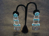 Native American Indian vintage silver jewelry, and Navajo vintage sterling silver jewelry, a stunning pair of chandelier-style silver earrings with turquoise stones, Navajo, c. 1930's. Main photo of the Navajo silver earrings.