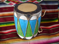 Native American Indian vintage folk art, a wonderful Pueblo dance drum, decorated with vivid designs and colors, Pueblos of New Mexico, c. 1950's. Main photo of the Pueblo dance drum.
