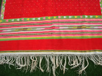 Mexican vintage textiles and Saltillo sarapes (serapes), a very beautiful post-classic Saltillo sarape with a tight weave of very fine wool, c. 1890-1900. Photo showing one edge of the sarape with the fringe.