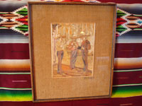 Mexican vintage straw-art (popote art or popotillo), a wonderful straw-art picture of three Mexican charros taking a smoking break, c. 1930's. The popote art is extremely fine and intricate. Main photo of the popote art scene.