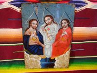 Mexican vintage devotional art, and Mexican vintage tinwork art, a very lovely retablo painted on tin showing the Holy Trinity (Father, Son, and Holy Spirit), c. 1900-20's.  Main photo of the retablo painted on tin.