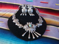 "Mexican vintage sterling silver jewelry, and Taxco vintage silver jewelry, a stunning silver necklace and earrings, signed ""Matl"", Taxco, c 1940's. The silverwork of the repousee necklace and earrings by the famous Matl is simply incredible. Main photo of the Taxco silver jewelry by Matl."