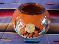 Mexican vintage pottery and ceramics, a lovely pottery tecomate with beautiful glazing and exquisite artwork, Tlaquepaque or Tonala Jalisco, c. 1940's. Another view of the lovely burro on the tecomate from Tlaquepaque.