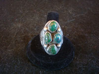 Native American Indian vintage silver jewelry, and Navajo sterling silver jewelry, a beautiful Navajo sterling silver ring with fabulous turquoise stones, Arizona or New Mexico, c. 1950's.  Main frontal photo of the Navajo silver jewelry ring.