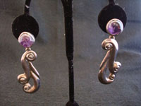 Mexican vintage silver jewelry, Taxco sterling silver earrings with amethyst, c. 1940's.