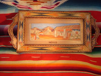 "Mexican vintage ""straw-art"" (popote art or popotillo) tray, c. 1940's. The popote art is very fine and very intricate. The frame is also decorated with very fine popote or straw-art, and incised geomtric patterns in the wood on the handles of the frame and and in the wood immediately around the central image. Main photo."