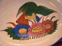 Mexican vintage pottery and ceramics, a beautiful oval platter decorated with a very lovely bird and flowers, Talquepaque, Jalisco, c. 1930-40's. Another closeup photo of the central scene of the platter with the lovely bird.
