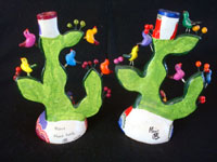 Mexican vintage pottery and ceramics, and Mexican vintage folk-art, a wonderful pair of trees-of-like, signed by the late, famous folk-artist, Alfonso Castillo, of Izucar de Matamoros, Puebla, c. 1990's. Photo showing the back sides of the pair of trees-of-life.