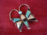 Native American Indian vintage sterling silver jewelry, a beautiful sterling silver broach depicting a wonderful butterfly, Zuni Pueblo, New Mexico, c. 1940's. Another photo of the front of the Zuni silver broach.