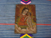 Mexican vintage devotional art, and Mexican vintage tinwork art, a very beautiful retablo painted on tin and depicting Nuestra Senora del Refugio (Our Lady Refuge of Sinners), c. early to mid-20th century. Main photo of the tinwork art retablo.