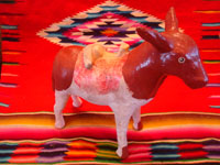 Mexican vintage folk art, and Mexican vintage pottery and ceramics, a wonderful pottery figure of an endearing donkey, Tonala or Santa Cruz de las Huertas, Jalisco, c. 1940's. Main photo.