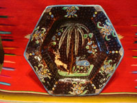 Mexican vintage pottery and ceramics, a stunning pottery bowl with a beautiful black background and a starry night pattern, and highly intricate artwork decorations, Tonala or San Pedro Tlaquepaque, c. 1920-30's. Main photo of the pottery bowl.