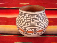 Native American Indian vintage pottery, a lovely Isleta pottery jar, with very fine geometric decoration, c. 1920's. The form and the artwork on this jar are outstanding and very beautiful. Main photo of the Isleta Pueblo pottery jar.