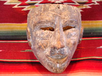 Mexican vintage wood-carving and vintage folk art, a carved wooden mask from Puebla, 1930 or earlier. The mask is from the Danza de Abonicos (Dance of the Fans), and originates from Huauchinango, in the state of Puebla. Main photo of the mask.