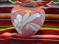 Mexican vintage pottery and ceramics, a burnished pottery vase with wonderful, imaginative artwork, Tonala or Tlaquepque, Jalisco, c. 1940's. Another side of the burnished Tonala vase.