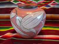 Mexican vintage pottery and ceramics, a burnished pottery vase with wonderful, imaginative artwork, Tonala or Tlaquepque, Jalisco, c. 1940's. Another side of the Tonala burnished vase.