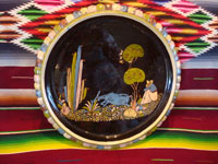 Mexican vintage pottery and ceramics, a very beautiful black-ware pottery charger with very fine and detailed artwork, Tonala or Tlaquepaque, Jalisco, c. 1930-40.  Main photo of the Tlaquepaque pottery charger.