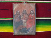 Mexican vintage devotional art, and Mexican vintage tinwork art, a framed retable painted on tin and depicting the Holy Trinity, Mexico, c. 1900-20, or earlier.  Main photo of the front of the tinwork art retablo.