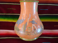 Mexican vintage pottery and ceramics, a beautiful pottery vase with very fine artwork decoration, Tlaquepaque or Tonala, Jalisco, c. 1930's. Main photo of the Arias vase from Tlaquepaque.