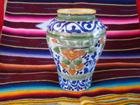 Mexican vintage pottery and ceramics, a lovely Talavera vase with wonderful hand-painted decoration, Puebla, c. 1940's. Main photo of the Talavera vase from Puebla.