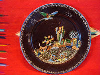 Mexican vintage pottery and ceramics, a beautiful blackware pottery plate with wonderful decoration featuring a dog, chicken, rooster, and parrot at the scenic rancho and amidst lovely cacti and other plants, Tlaquepaque, Jalisco, c. 1930's. Main photo of the plate.
