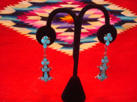 Native American Indian vintage silver jewelry, and Zuni vintage silver jewelry, a lovely pair of dangling Zuni earrings of sterling silver and lovely inlaid turquoise, Zuni, New Mexico, c. 1940's. Main photo of the Zuni silver earrings.