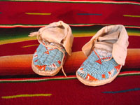 Native American Indian beadwork baby mocassins, Lakota or Cheyenne, c. 1890-1900. The beadwork is fantastic and is in great condition. Main photo.