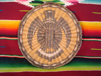 Native American Indian antique basket, a Hopi wicker plaque with eagle design, c. 1930. Main photo.
