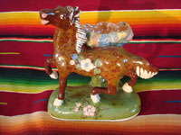 Mexican vintage pottery and ceramics, a prancing horse with attached bowl, Tlaquepaque, c. 1930. Main photo.