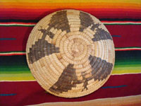 Native American Indian basket, a lovely Papago basketry tray with bats, c. 1930-40. Photo of the backside of the Indian basket.