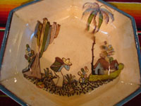 Mexican vintage pottery and ceramics, a beautiful six-sided bowl from Tlaquepaque, Jalisco, c. 1920-30. Closeup photo of the central design scene of the bowl.