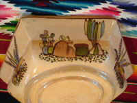 Mexican vintage pottery and ceramics, a beautiful six-sided bowl from Tlaquepaque, Jalisco, c. 1920-30. Photo showing scenes painted on the sides of the bowl.