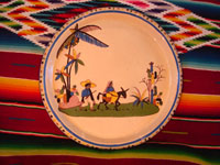 Mexican vintage pottery and ceramics, a large charger from Tlaquepaque, Jalisco, c. 1920-30. Main photo.