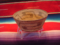 Native American Indian antique basket, a very beautiful, small Pima basket with geometric designs, Arizona, c. 1920. The Pima basket is well-woven (16 stiches per inch) and is very beautiful. Main photo of the Indian basket.