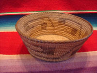 Native American Indian antique basket, a very beautiful, small Pima basket with geometric designs, Arizona, c. 1920. The Pima basket is well-woven (16 stiches per inch) and is very beautiful. Another side view of the Pima Indian basket.