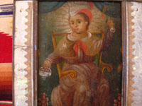 Mexican vintage tinwork-art (tin art), and Mexican vintage devotional art and retablos, a very fine painting on tin of the Santo Nino de Atocha, mounted in an early and very fine tinwork-art nicho, c. 1910-20's. Closeup photo of the Santo Nino on the retablo.