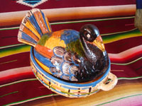 Mexican vintage pottery and ceramics, and Mexican vintage folk art, a wonderful lidded casserole in the form of a beautiful turkey, Tonala or Tlaquepaque, Jalisco, c. 1930's. Main photo.