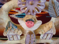Mexican vintage folk art, and Mexican vintage pottery and ceramics, a wonderful tree-of-life candle-holder, decorated with an angel and a lovely Nativity scene, Metepec, c. 1950's. Closeup of the angel.