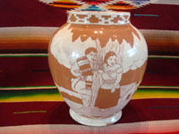 Mexican vintage pottery and ceramics, a pottery vase with lovely background glazing in two colors, and with very beautiful hand-painted scenes, attributed to the famous Jimenez family, Oaxaca, c. 1930's. Main photo of the vase.