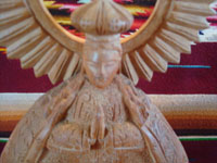Mexican vintage devotional art, and Mexican vintage woodcarving, a lovely woodcarving of Our Lady of Good Health, Patronness of the Basilica in Patzcuaro, Michoacan, c. 1950's. Closeup photo of the Lady's face.